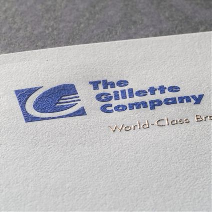 Engraved letterhead with blue and silver metallic ink